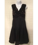 Adrianna Papell Black Cocktail Lace Petite Dress - $21.78