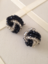 Vintage Black And Silver Bead Cluster Wrap Fashion Clip On Earrings - $25.00