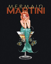 Mermaid Martini by Ralph Burch Sexy Pin Up Open Edition Canvas Giclee Stretched - $270.27