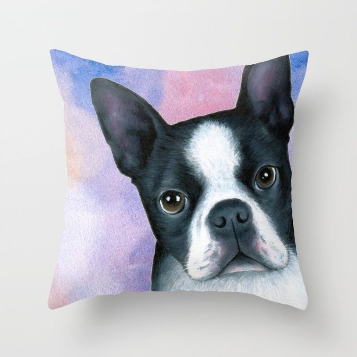 Throw Pillow Cushion case Made in USA Dog 128 Boston Terrier Pink Blue L.Dumas