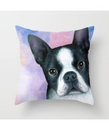 Throw Pillow Cushion case Made in USA Dog 128 Boston Terrier Pink Blue L... - £23.52 GBP+