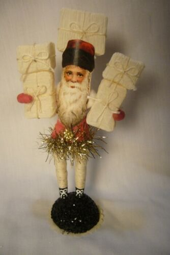 Vintage Inspired Spun Cotton, Santa with Presents