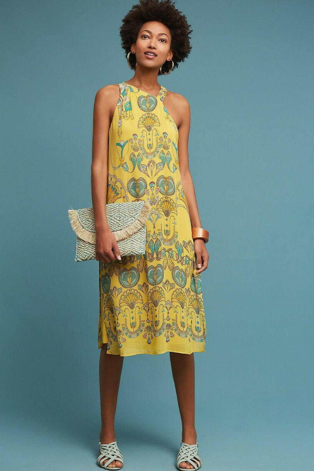 New Anthropologie Akemi + Kin Yellow Printemps Skirted Jumpsuit Retail $168 Sz 2