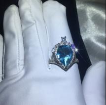 3Ct Pear Cut Blue Topaz Halo Elegant Engagement Ring Solid 18K White Gol... - $96.57