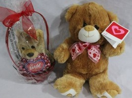 "Valentine's Day Gift Set for Her, 2 Brown 12"" & 8"" Teddy Love Bears Hear... - $22.95"
