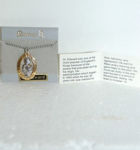 Roman Incorporated Brand Saint Edward Gold Silver Colored Necklace