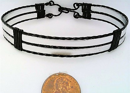 Silver Anodized Aluminum Black Copper Wire Wrap Bracelet 12