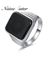 The great gatsby high quality men s ring black onyx 925 sterling silver ring men s thumbtall