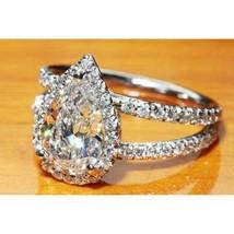 Certified 3.00Ct Pear Cut Split Shank Diamond Engagement Ring in 14K Whi... - $266.16