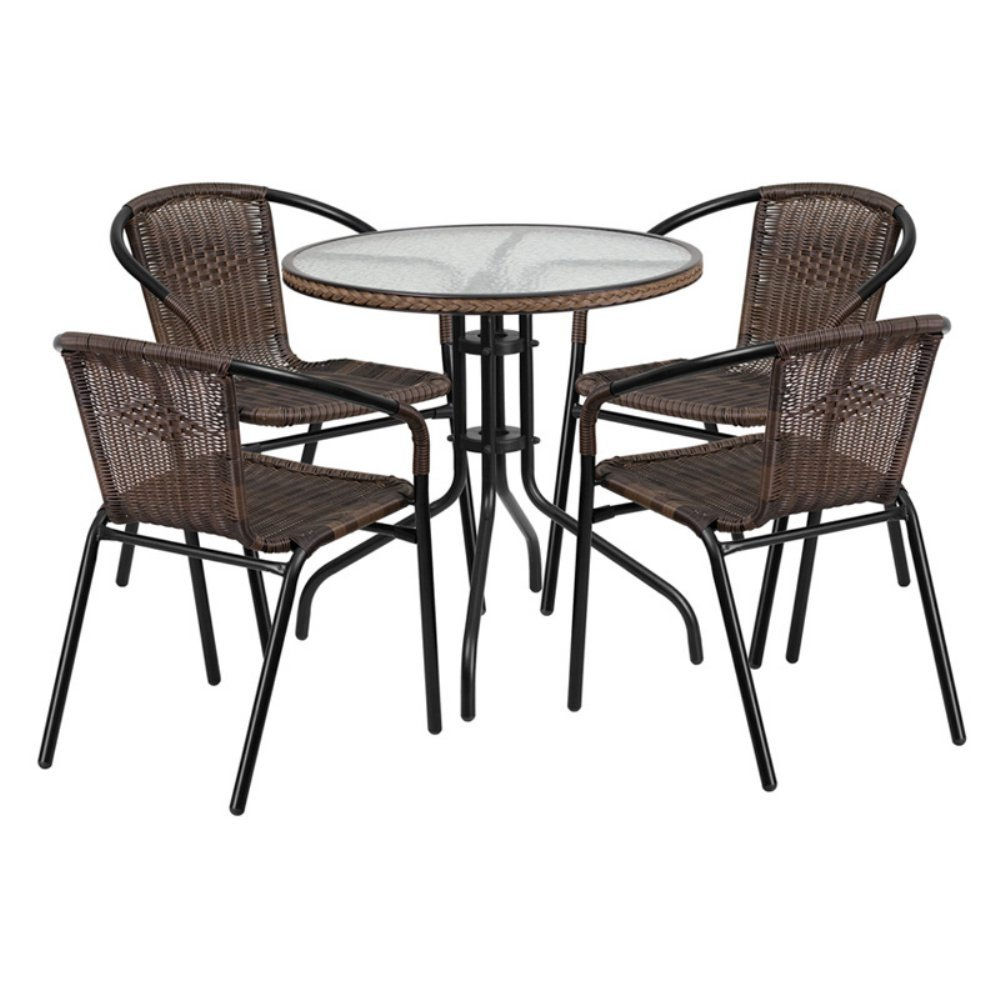 Outdoor Patio Dining Set Cafe Pub Yard Poolside Garden Rattan Furniture 5 Piece