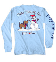 Puppie Love Rescue Dog Adult Unisex Long Sleeve Graphic Tee/T-Shirt, Snowman Pup