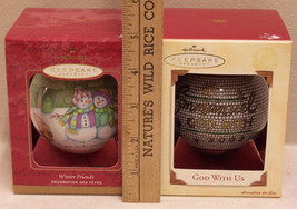Lot 2 Hallmark Keepsake Christmas Ornaments Balls Winter Friends & God W... - $9.49