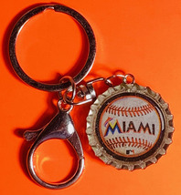 Miami marlins Baseball Coke Sprite Diet pepsi & more Soda beer cap Keychain image 2