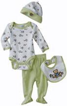 Vitamins Baby Preemie 4-Piece Creeper Pant Set Teddy Bear & Toys - $28.00