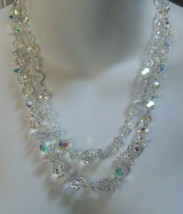 Vintage Signed VENDOME 2 Strand Faceted Graduated AB Rainbow Crystal Necklace - $135.00