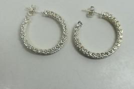 """Tiffany & Co Wide Mesh Somerset 1"""" Hoop Sterling Silver Earrings Pierced, Rare - $257.53"""
