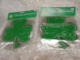 New lot 2 packs Wilton Shamrock Party bags w/ Drawstrings 15 sacs each 30+ - $6.92