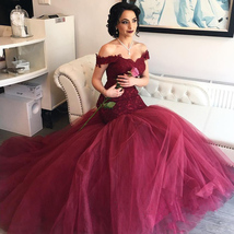 Burgundy Off Shoulder Drop Waist Lace Bodice Tulle Mermaid Wedding Dress - $222.00