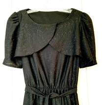 Vintage KR of NY Dress Black Rainbow Glitter Leaf Pattern Short Sleeve ... - $18.80