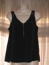 DKNY JEANS PETITES PS Womens  Small Size Black Summer Sleeveless Zipper Top - $25.99