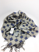Fuuxxi Grey & Blue Snowflakes Wool Double Sided Scarf MSRP $145.00 - $69.29