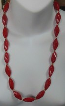 """Vintage Signed NAPIER Red Beaded Necklace 25.5"""" Long - $19.79"""
