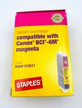 Staples Canon BCI-6M Compatible Magenta Ink Cartridge Factory Sealed New - $6.89