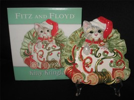 FITZ & FLOYD KITTY KRINGLE CANAPE PLATE - NEW IN BOX - $9.70