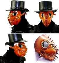 Face Mask Leather Grimace Cosplay Steampunk Plague Horror Halloween Devi... - $65.76 CAD