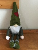 Used Green Fabric Stuffed Gnome Doll with Heart Felt Heart & Hands & Fee... - $9.49
