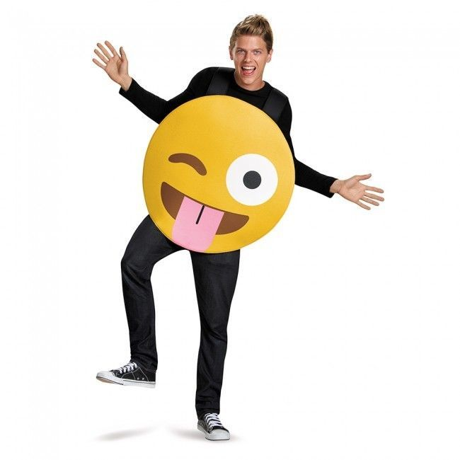 Disguise Tongue Out Emoji Emoticon Goofy Adult Unisex Halloween Costume 85324