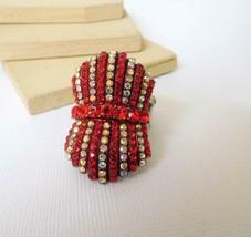 Retro 80s Red AB Crystal Rhinestone Stretch Band Statement Ring Size 11 N42 - $14.44