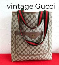GUCCI Sherry Line Tote Bag GG Logo Brown Women's Old Vintage Rare From J... - $490.00
