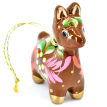 Handcrafted Painted Ceramic Brown Llama Confetti Ornament Made in Peru image 3