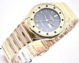 New Quartz citizen mens watch gold tone black dial day & date . - £35.90 GBP