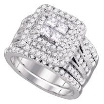 14k White Gold Princess Diamond Cluster Halo Bridal Wedding Engagement Ring Set - $2,850.67