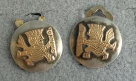 Latin Old Cuzco Sterling Silver 18K Yellow Gold Clip On Earrings Wear AS IS - $22.99