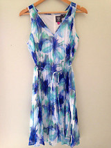 NWT Vince Camuto Designer Airy Pleated Chiffon Blue Floral Belted Dress ... - $76.00