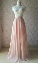Blush Pink Full Long Tulle Skirt Blush Wedding Tulle Skirt Bridesmaid Outfit image 1