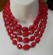 Vintage Signed Western Germany Graduated 4 Strand Red Plastic Bead Neckl... - $26.24