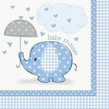Umbrella Elephant Blue Boy Baby Shower 16 Beverage Napkins - $2.84