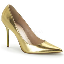 "PLEASER Sexy Basic Gold Metallic Pumps 4"" High Heels Stilettos Shoes CLAS20/GMPU - $46.95"