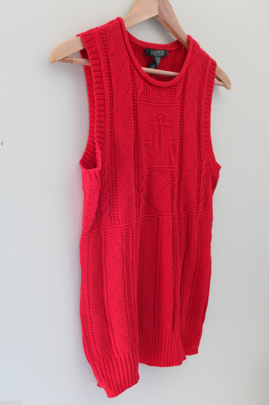 NWT LAUREN Ralph Lauren Red Linen Cotton Knit Sleeveless Sweater Vest M $100 image 3