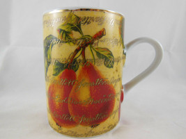 Department 56 Mug Pears and Apples Coffee Tea cup 8 Oz Gold Red Yellow - $6.33