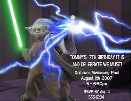 Star Wars Yoda Birthday Party Invitations Invites Personalized Custom - ₨70.16 INR+