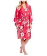 NWT New Natori Robe Womens S Pink White Flowers Silky Pocket Satin Gray ... - $117.00
