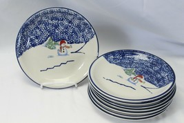 "Thomson Pottery Snowman Xmas Salad Plates 7.75"" Lot of 8 - $29.39"