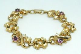 Purple Clear Glass Rhinestone Gold Tone Flower 1950s Bracelet Vintage - $24.74