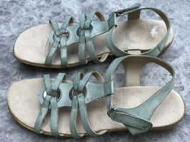 Sz 10N Easy Spirit Eshazelle Washed Green Leather Strappy Velcro Closure... - $40.10