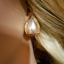 Pair 14 Karat Yellow Gold Teardrop Shaped Mabe Cultured Pearl Earrings. ... - $850.00